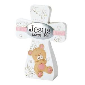 Cruz Jesus loves me. Niña. Resina
