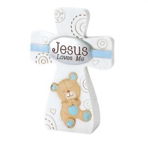 Cruz Jesus loves me. Niño. Resina