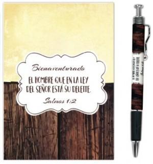 Bolígrafo y libreta Bienaventurado el hombre