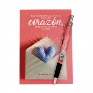 Libreta y bolígrafo Corazón (Proverbios 4:23)