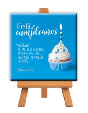 Minilienzo con caballete Feliz cumpleaños (Samo 90:12)