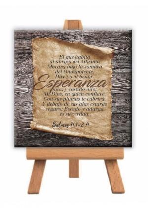 Minilienzo con caballete Esperanza (Salmo 91:1-2 y 4)