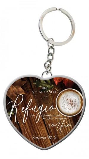Llavero corazón Refugio (Salmo 91:2)