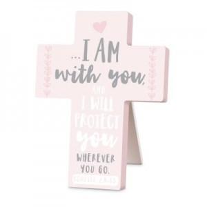 Cruz sobremesa I am with you. MDF. Rosa