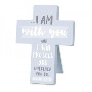 Cruz sobremesa I am with you. MDF. Azul