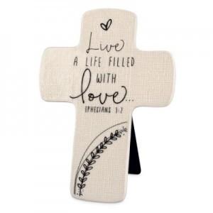 Cruz sobremesa Live a life filled with Love. Cerámica