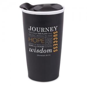 Botella térmica Journey. Jeremías 29:11. Cerámica. Negro