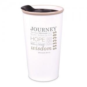 Botella térmica Journey. Jeremías 29:11. Cerámica. Blanco