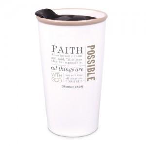 Botella térmica Faith. Mateo 19:26. Cerámica. Blanco