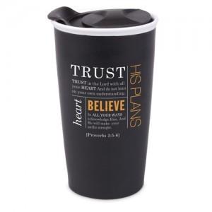 Botella térmica Trust. Jeremías 29:11. Cerámica. Negro