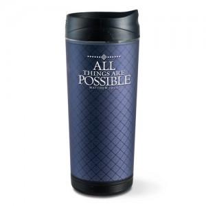 Botella térmica All things are possible. Acrílico/plástico escarchado. Azul