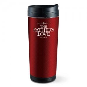 Botella térmica The Fathers Love. Acrílico/plástico escarchado. Rojo