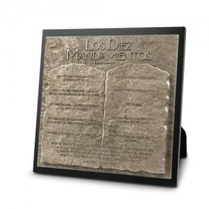 Placa sobremesa Los Diez Mandamientos. Piedra artificial/MDF