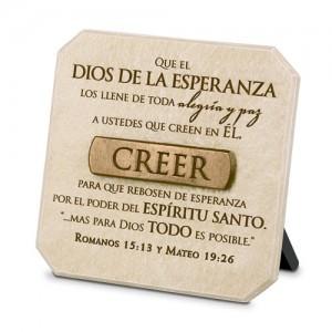 Placa sobremesa Creer. Piedra artificial/bronce
