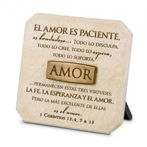Placa sobremesa Amor. Piedra artificial/bronce