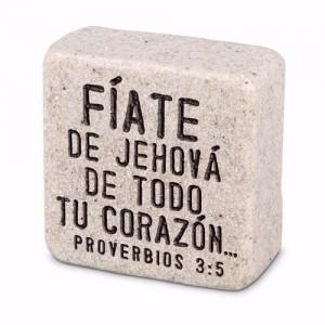 Placa Confianza (Proverbios 3:5). Piedra artificial