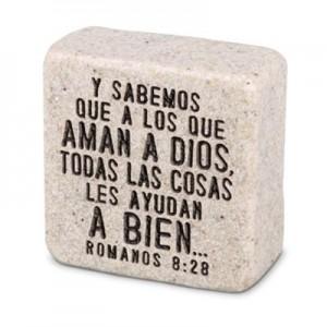 Placa Creer (Romanos 8:28). Piedra artificial