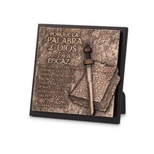 Placa sobremesa La Palabra de Dios. Piedra artificial/MDF