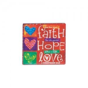 Imán Faith, Hope, Love. Cerámica