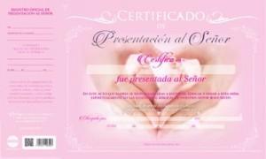 Certificado de presentación - Niña (pack de 20)
