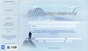Certificado de reconocimiento (pack de 20)