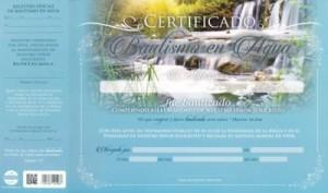 Certificado de bautismo - Cascada (pack de 20)