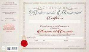 Certificado de ordenación ministerial (pack de 20)