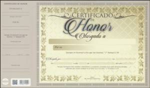 Certificado de honor (pack de 20)