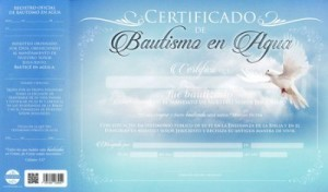 Certificado de bautismo - Paloma (pack de 20)