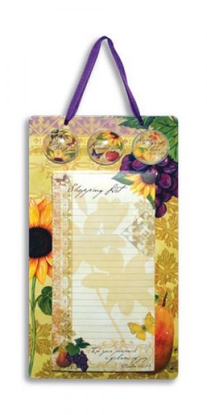 Placa metálica colgar Bella vita con hojas para notas y 3 imanes