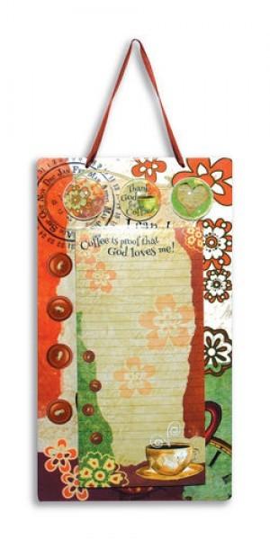 Placa metálica colgar Coffee con hojas para notas y 3 imanes