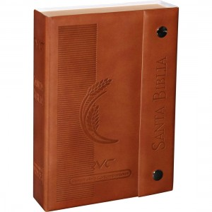 Biblia fuente de bendición. Bolsillo. Letra grande. 2 tonos. Marrón. Broche - RVC