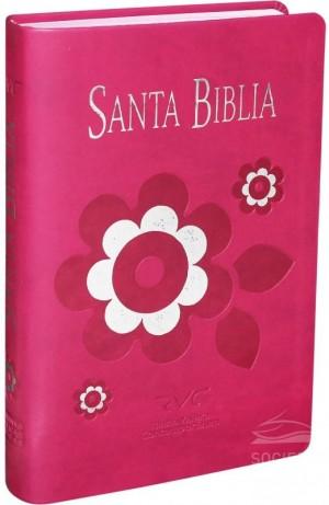 Biblia fuente de bendición. Manual. Letra grande. 2 tonos. Rosa. Flor - RVC