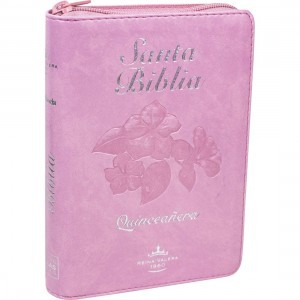Biblia para quinceañera. Bolsillo. 2 tonos. Rosa. Cremallera. Índice - RVR60