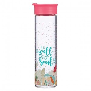 Botella It is well with my soul. Rosa salmón floral (inglés)