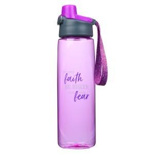 Botella Faith bigger than fear. Plástico. Morado (inglés)