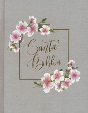Biblia edición artística. Tapa dura entelada. Gris floral - NBLA