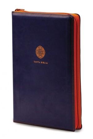 Biblia súper grande. Letra súper gigante. 2 tonos. Azul. Cremallera - RVR60