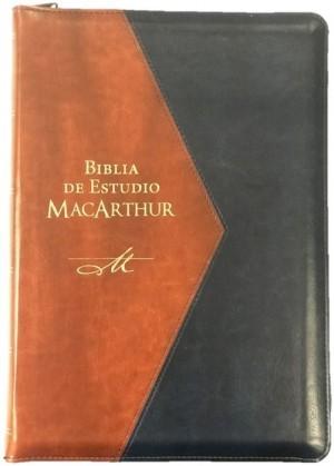 Biblia MacArthur. Letra grande. 2 tonos. Azul/marrón. Cremallera. Índice - RVR60