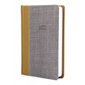 Biblia compacta. Ultrafina. Tapa dura entelada. Ocre/gris - RVR77