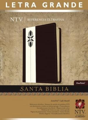 Biblia edición de referencia. Ultrafina. Letra grande. 2 tonos. Marrón/blanco - NTV