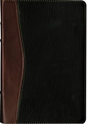 Biblia edición legado. Letra grande. Ultrafina. Piel legítima. 2 tonos. Negro/marrón. Índice - NTV