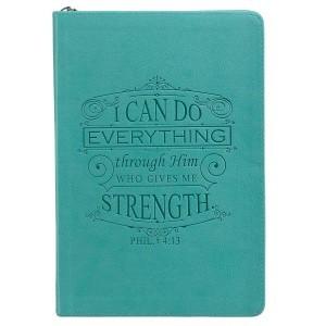 Diario Filipenses 4:13. 2 tonos. Turquesa. Cremallera