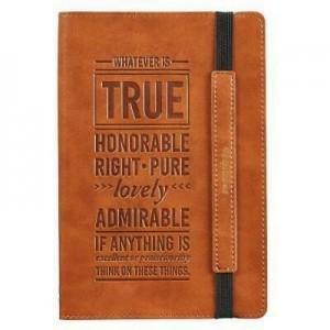 Diario Filipenses 4:8. Imitación piel. Marrón