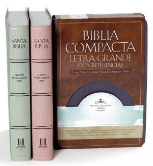 Biblia compacta referencias. Letra grande. Imitación piel. Azul - RVR60