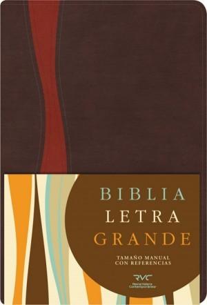 RVC Biblia Letra Grande Tamaño Manual, chocolate/cobrizo símil piel