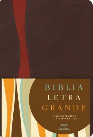 RVC Biblia Letra Grande Tamaño Manual, chocolate/cobrizo símil piel con índice