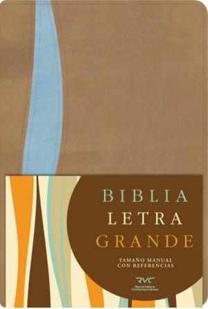 Biblia manual. Letra grande. 2 tonos. Marrón/azul. Índice - RVC