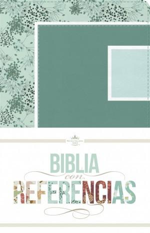 RVR 1960 Biblia con Referencias, abstracto, verde mar/celeste símil piel