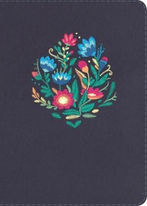 Biblia manual. Letra grande. Tapa dura entelada. Flores. Índice - RVR60